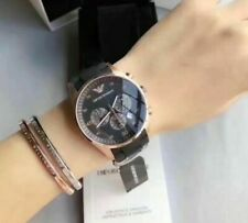 New Emporio Armani Rose Gold AR5906 Black Silicone Chronograph Ladies Watch