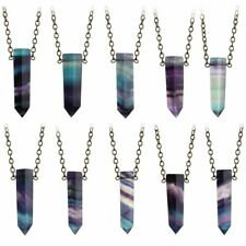 Crystal Chakra Healing Stone Quartz Pendant Necklace Natural Fluorite Wand