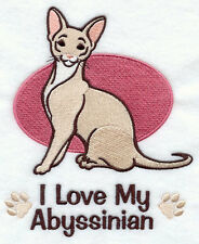 I Love My Abyssinian Cat Set Of 2 Hand Towels Embroidered Beautiful