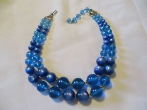 """VINTAGE 2 STRAND BLUE LUCITE MOONGLOW BEADED NECKLACE~17"""""""