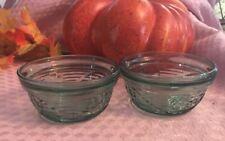 Anchor Hocking Set of 2 Blue green Flower Custard Dessert Bowls Cups Oven Proof
