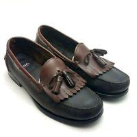 Aerosoles Men's Leather Slip-On Kiltie Tassel Loafers Black Brown Size 9 M