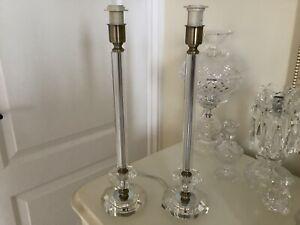 Stunning Large Pair Laura Ashley Crystal Glass Deco Column Table Lamp Base