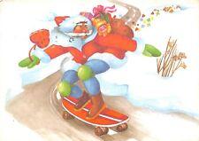 AK Santa with Skateboard Merry Christmas Postcard