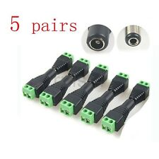 5 Pairs/lot DC Power Plug Adapter Connector Screw Free welding For CCTV Camera