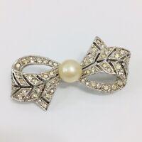 Vintage Rhinestone Bow Brooch Faux Pearl Silver Tone Ribbon Pin