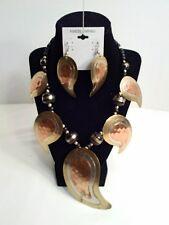 Vintage Copper, Brass & Steel Necklass with matching Pierced Earrings
