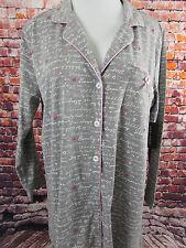 LAURA ASHLEY Size XL Women's Sleep Shirt Pajamas Lounge Gray Hearts Pink Ribbon