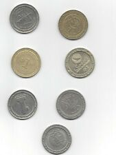 Lot Of 7 metal $1 Casino Gaming Chips Coins Tokens Defunct closed casinos Grand