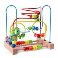 MWZ Juguetes De madera para bebes pequenos Laberinto de cuentas de Circula R4Q9