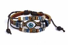 Lot of 10 Handmade Turkish Eye Leather Adjustable Bracelets Girls-Woman-Men USA