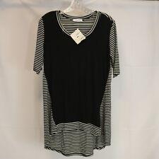 Cherish Womens M Tunic Stripes Hi Lo Short Sleeve Black White NWT