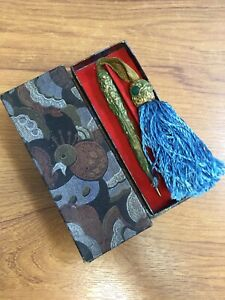 Vintage Unusual Green Bark Gilt Finish Pencil With Blue Tassel 1930s In Gift Box