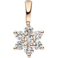 Anhänger Stern Schneeflocke aus 7 Diamanten Brillanten & 585 Gold Rotgold Damen