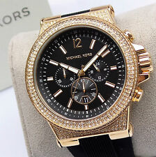 Michael Kors DYLAN Chronograph MK8557 Mens Rose Gold Glitz Dial Watch $325 NEW