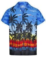 Mens Hawiian Shirts Royal Blue Palm & Pink Parrot & Tiger Animal Shirts ALL SIZE