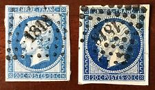 FRANCE-1855-PAIRSG54-DIE I--4 GOOD MARGINS  BLUE 20c-GROS+PETITS Chiffres Cancel