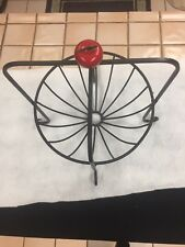 Black Wrought Iron Scroll Basket Fruit Bowl With An Apple 🍎 Excellent Condition