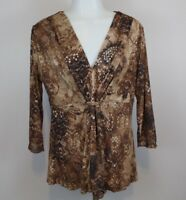 Coldwater Creek Women's Small Top Brown 3/4 Sleeve V-Neck Blouse