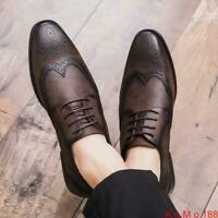Retro Mens Brogue Lace Up Wingtip Leather Casual Dress Formal Oxford Shoes New