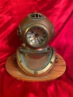 Vintage Brass Diving Helmet Clock Nautical Decorative