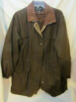 Gallery Women's Full Zip Button Coat Jacket ~ SMALL ~ Brown Lined ~ Long Sleeve