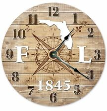FLORIDA Established in 1845 COMPASS CLOCK Large 10.5 inch Wall Clock