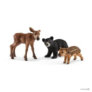 SCHLEICH 41457 First Forest Animal Babies Playset  Bear Cub Elk Calf Boar Piglet