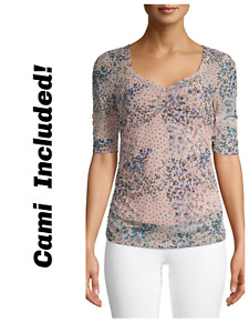No Boundaries Top Cinched Soft Mesh w/ Cami Floral Blush Pink Juniors Small