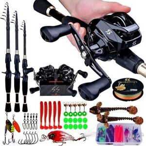 Telescopic Casting Fishing Rod Reel Combo Lures Travel Ultralight Pole Tackle