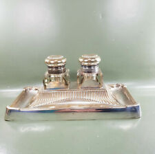 Vintage Silver Plated Art Deco Desk set Cut Glass Double inkwells and tray