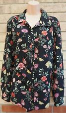 G21 BLACK PINK GREEN FLORAL BUTTERFLY PRINT LONG SLEEVE BLOUSE SHIRT TOP 20