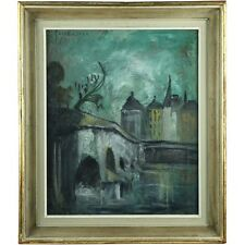 Signed Mid Century Impressionist Evening Twilight City Landscape Oil Painting