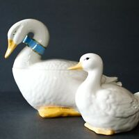 Vintage Cookie Jar White Duck Goose Duckling Set Sittre Ceramic Productions