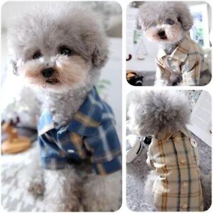 Pet Check Jacket Clothes Toy Dog Shirt Poodle Chihuahua Plaid Pocket Shirts Tops
