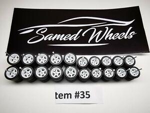 10 set 10-12mm WHITE Samed Wheels 5 bolt 1:64 rubber wheels #35