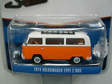 1974 Volkswagen T2 Bus, Orange with White Roof, Greenlight 1:64