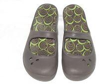 Crocs Womens Sz 6 Brown Mary Jane Wedge Heel Slides Slip On Sandals with insert