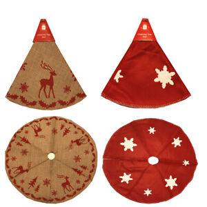 Christmas Tree skirt Red Felt Snowflake & Hessian Reindeer Traditional Design