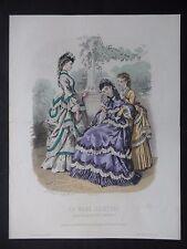 GRAVURE MODE 19e - LA MODE ILLUSTRÉE - TOILETTES MME BREANT 1870 - GRAND FORMAT