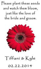 Wedding Favor Seed Packets Personalized Red Daisy Custom Favors Set of 100