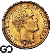 1924-D Columbia Gold Cinco Pesos, .2355 Oz Agw, .916 Fine, 5 Peso