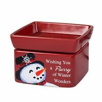 Classic Snowman Winter Wonders Red Christmas 2 in 1 Jar Candle and Wax Warmer