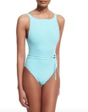 Proenza Schouler High Neck Belted Maillot Aqua Swimsuit Size XS 1808