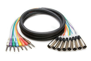 Hosa STX-802M Pro Balanced 1/4 in TRS to XLR3M 8-Channel Snake 6.56ft 2m