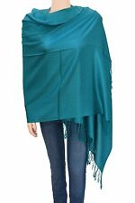 Elegant Solid Color Pashmina Shawl Scarf Teal for Women