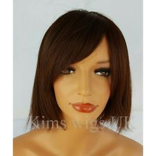 LADIES WOMENS TWO TONE DARK RED BLUNT CHOPPY STYLE SHORT BOB FULL WIG