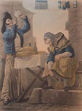 Aquatinte, Vernet, Debucourt, pipe, tabac, vieux métier, Engraving, gravure.