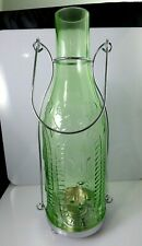 Yankee Candle French Glass Green Bottle Tea Light Candle Holder Lantern Handle