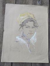 GRAND PORTRAIT FEMININ-AQUARELLE-SIGNATURE-DESSIN PARDO ? dif lisibl PARIS 1966